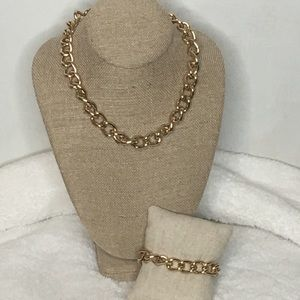Traci Lynn Gold Chain Link Necklace and Bracelet